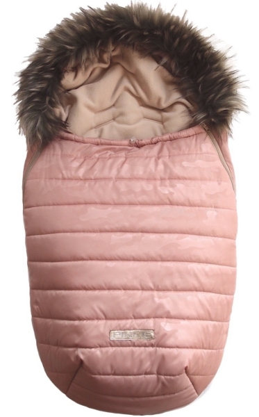 Fußsack Pinkie Pink Camo mit Pelzkragen