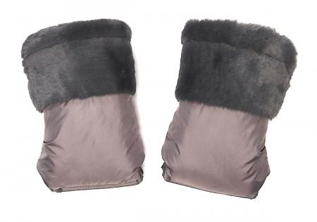 Handschuhe  Fur Grey