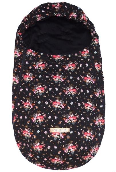 Dünner Fußsack Pinkie Roses Black