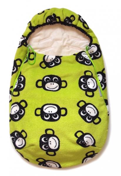 Fußsack Monkey Green für Babys 0-12 Monate