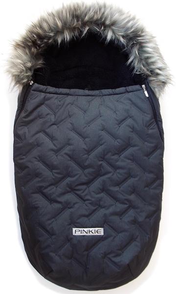 Winterfußsack Pinkie Zigzag Black mit Pelzkragen