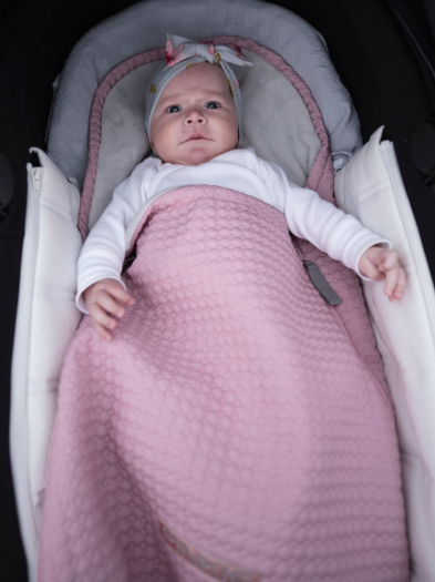 Dünner Fußsack Small Pink Comb 0-12 Monate